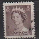 CANADA 1953 - Scott 325 used - 1c Queen Elizabeth II   (10-319)