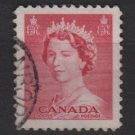CANADA 1953 - Scott 327 used - 3c Queen Elizabeth II (10-321)