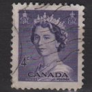 CANADA 1953 - Scott 328 used - 4c Queen Elizabeth II  (10-322)