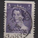 CANADA 1953 - scott 328 used - 4c, Queen Elizabeth  (10-328)