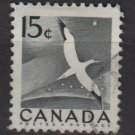 CANADA 1954 - Scott 343 used - 15c flying bird, Gannet  (10-344)