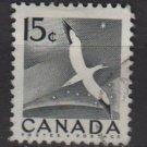 CANADA 1954 - Scott 343 used - 15c flying bird, Gannet  (10-344)