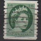 CANADA 1954 - Scott 345 coil used - 2c Queen Elizabeth II(10-346)