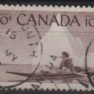 CANADA 1955 - Scott 351 used - 10c, Eskimo & Kayak  (10-353