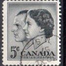 CANADA 1957 - Scott 374 used - 5c, Elizabeth II & Prince Philipp  (10-377)