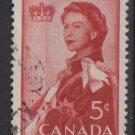 CANADA 1959 - Scott 386 used -5c,  Elizabeth II (P-550)
