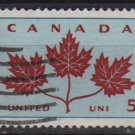 CANADA 1964 - Scott 417 used - 5c,  Three Maple leaf emblem (10-447)