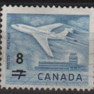 CANADA 1964 - Scott 430 used - 8c on 7c, Jet @ Ottawa surcharged  (10-473)