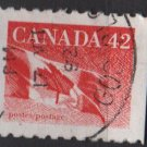 Canada 1991/98 - Scott 1394 COIL used - 42c, Flag  (11-171)