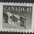 Canada 1991/98 - Scott 1395 COIL used - 43c, Flag  (11-172)