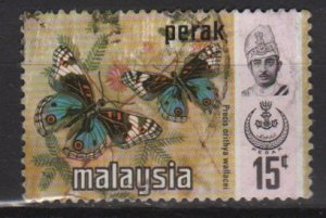 Malaysia PERAK 1971 - Scott 151 used - 15c, Butterflies &amp; Sultan (Red-682)