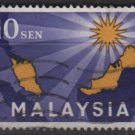 MALAYSIA 1963 - Scott 1 used - 10c, Map & Star (6-511)