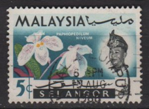 Malaysia Selangor 1965  - scott  123  used - 5c, Orchids &amp; Sultan (11-513)