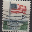 USA 1968 - Scott 1338 used - 6c, Flag over White House , Perf. 11(12-493)
