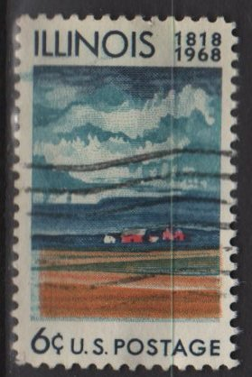USA 1968 - Scott 1339 used -6c, Illionois Statehood, farm & fields  (12-497)