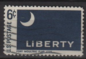 US 1968 - Scott 1345 used - 6c, Historic Flag, Fort Moultrie   (12-498)