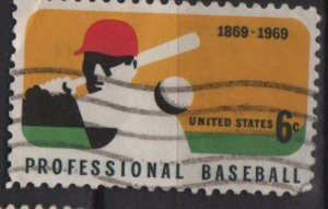 USA 1969 - Scott 1381 used - 6c, Professional Baseball issue  (12-502)