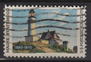 USA 1970 - Scott 1391 used - 6c, Lighthouse, Maine Statehood 150th Anniv.  (12-508)