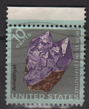 USA 1974 - Scott  1540  used  - 10c,  Mineral Heritage,  Amethyst (12-536