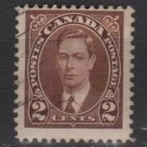 Canada 1937 - Scott 232 used -  2c, George VI   (B-303)
