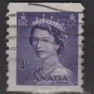 Canada 1953 - Scott 333 used - 4c, Queen Elizabeth II (C-236)