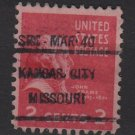 USA 1938 -Scott 806 used - 2c, John Adams, Precancel KANSAS CITY (4-466)