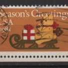 USA 1981 -Scott 1940 used- (20c) Feld Bear on Sled Christmas  (Red-723)