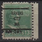 "USA 1938 - Scott 818 used - 13c, Millard Filmore, Precancel. ""KANSAS CITY, MO"" (12-587)"