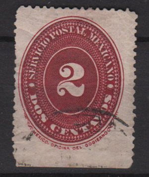 Mexico 1886 - Scott 175 used - 2c, Numeral (R-551)