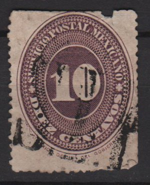 Mexico 1886 - Scott 180 used - 10c, Numeral, slight damage (R-633)