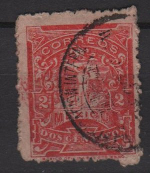 Mexico 1898 - Scott  280  used - 2c, letter carrier (Ra-469)