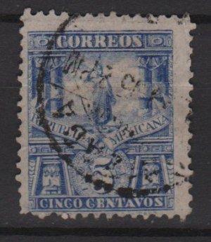 Mexico 1898 - Scott  283  used - 5c, Statue of Cuauhtemoc (Red-88)
