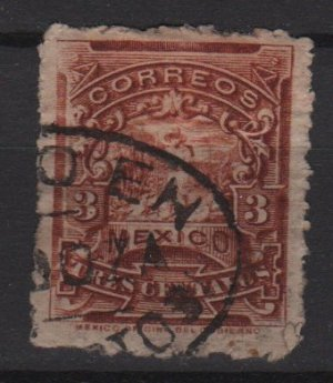 Mexico 1898 - Scott  281  used - 3c, letter Carrier (Red-623)