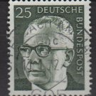 Germany 1970 - Scott 1030a used - 25 pf, Pres. G. Heinemann (R-334)