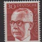 Germany 1970 - Scott 1031 MNH - 30 pf, Pres. G. Heinemann (Ra-92)