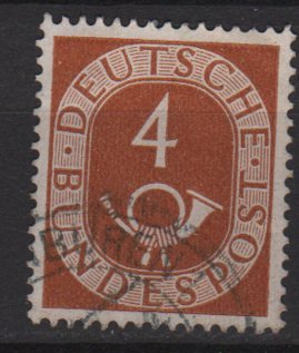 Germany 1951 - Scott 671 used - 4 pf, Numeral & Post Horn (F-252)