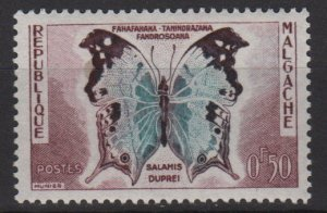 Malagasy 1960 - Scott 308 MH - 50c, Butterfly  (H - 32)