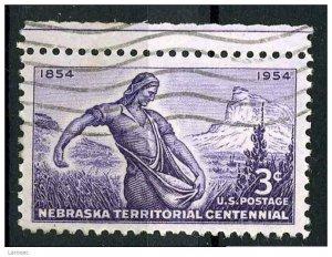 USA 1954 - Scott 1060 used - 3c, NebraskaTerritory issue (N-450)
