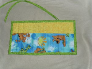 Hand Crafted Scooby Doo Crayon Holder Roll Up with Green Tie