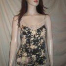 THE LIMITED Spaghetti Strap Blouse Top Floral BLack M