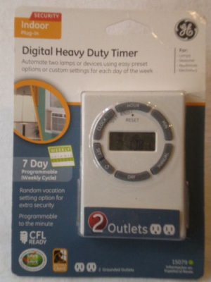 GE Digital Heavy Duty  Plug In Timer W/ 2 Outlets 15079