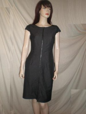 CALVIN KLEIN Exposed Zip Sheath Dress Stretch Denim 4