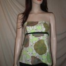 CURTSEY Strapless Blouse Top Floral Print Green 4
