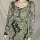 JOHNNY MARTIN Junior Long Sleeve Dress Green Print S