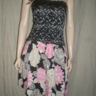 RUBBER DUCKY Strapless Dress Lace Black  Floral S 50421