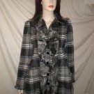 JOLT Junior's Ruffle Front Coat Plaid Gray Black S