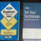 FORD Explorer 1992 Manual Owner Guide & Tell your Technician Report Book