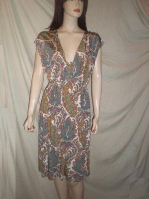 CURTSEY V Neck Dress Brown Print L Large