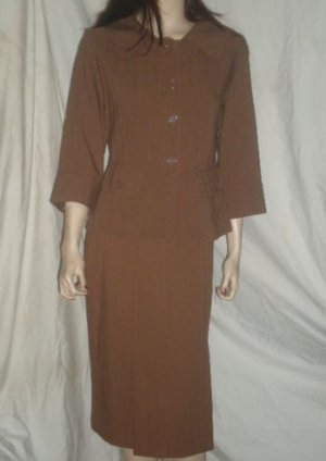 COURTENAY Stretch Skirt & Jacket Suit Set Brown SZ 6