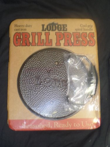 LODGE 7.5  Round Heavy Duty Cast Iron Cool Spiral Handle Grill Press LGPR3